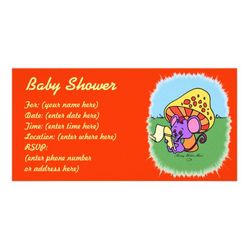 Mushroom Mouse Baby Shower Photo Card