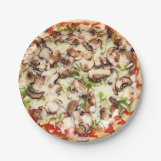 "Mushroom Pizza Paper Plates 7"" 7 Inch Paper Plate"