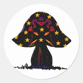 mushroom stars round sticker