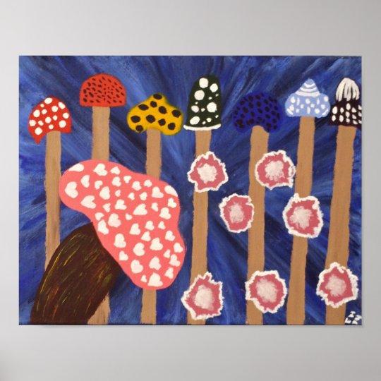 """Mushrooms"" 11x14 Art Poster"