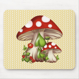 MUSHROOMS AND STRAWBERRIES MOUSE PAD