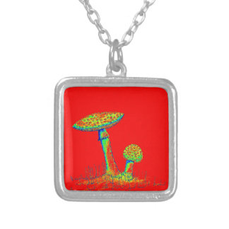 Mushrooms and Toadstools art. Silver Plated Necklace