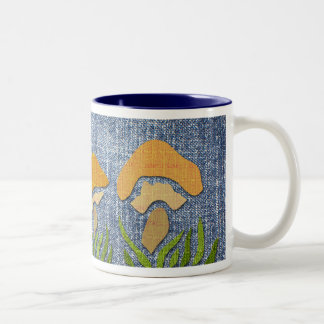 Mushrooms on Denim Mug