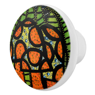 Mushrooms Orange And Green Ceramic Knob