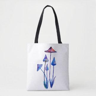 Mushrooms Watercolor Art Round Badge Tote Bag