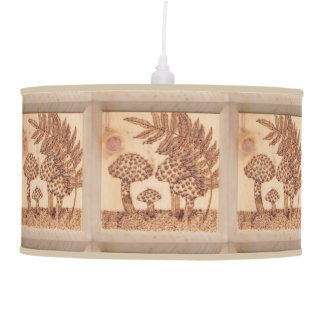 Mushrooms Woodburned Prim Rustic Woodland Pendant Lamp