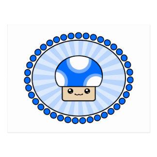 Mushy Puffs Kawaii Mushroom Blue Postcard