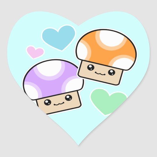 Mushy Puffs Mushroom Kawaii Heart Stickers