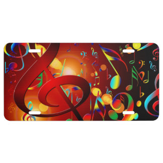 Music abstract background license plate