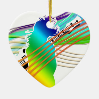 Music Addicted Ceramic Heart Ornament