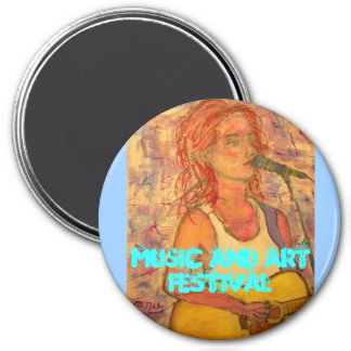 Music and Art Festival 3 Inch Round Magnet