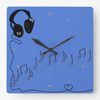 Music And Headsets Square Wall Clock