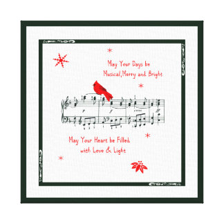 Music and Red Cardinal Bird Canvas Print