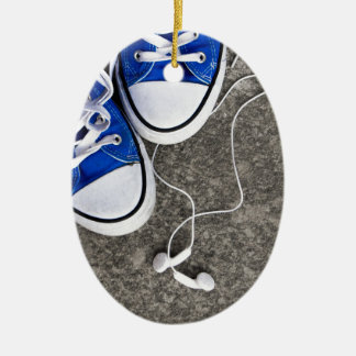 Music and sneakers ceramic oval ornament
