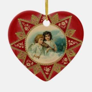MUSIC ANGELS IN  RED HEART CHRISTMAS ORNAMENTS