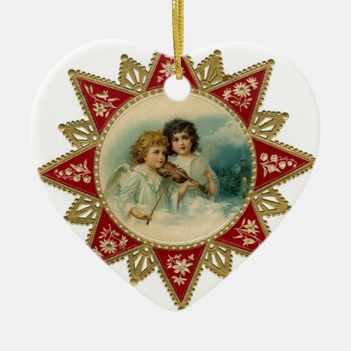 MUSIC ANGELS IN  WHITE HEART CHRISTMAS ORNAMENT