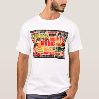 Music Background With Different Genres and Types T-Shirt