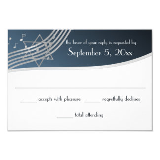 Music Bar Mitzvah Response Silver Blue Card