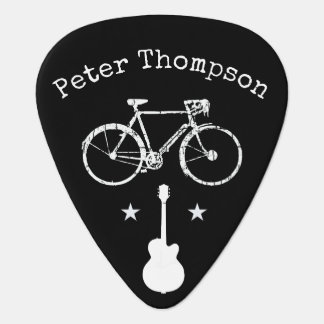 music & bicycle,  personalized black guitar pick