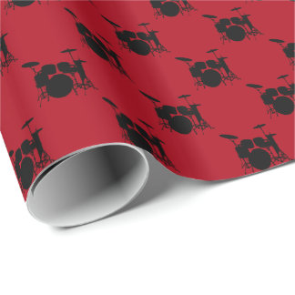 Music Black Drum Set on Dark Red Wrapping Paper