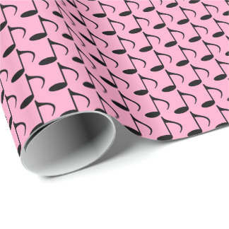 Music Black Eighth Notes on Carnation Pink Wrapping Paper