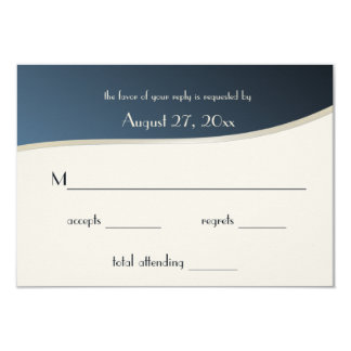 Music Blue and Gold Bar Mitzvah Response Card