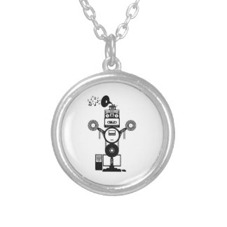 Music Bot Silver Plated Necklace