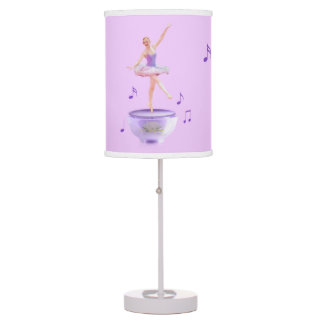 Music Box Ballerina in Purple and White Table Lamp