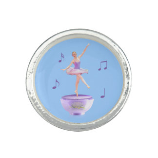 Music Box Ballerina with Water Lily Customizable Rings