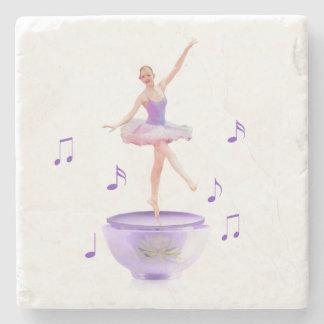 Music Box Ballerina with Water Lily Customizable Stone Coaster