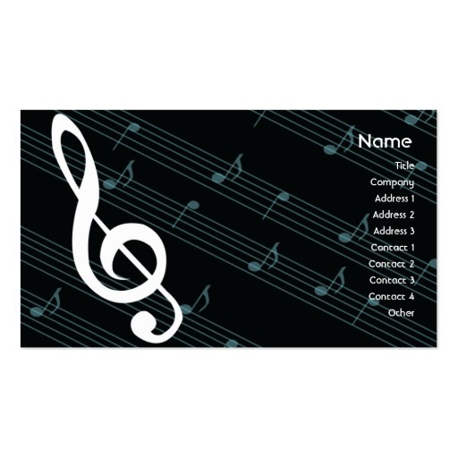 Music - Business Pack Of Standard Business Cards