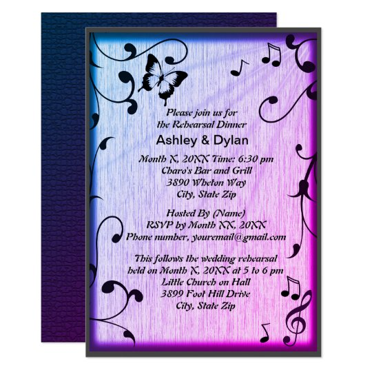 Music, Butterfly, Leaves, Blue Rehearsal Dinner Card
