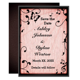 Music, Butterfly, Leaves, Pink Wood Save the Date Card