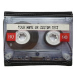Music Cassette Tape Personalized Leather Leather Trifold Wallets