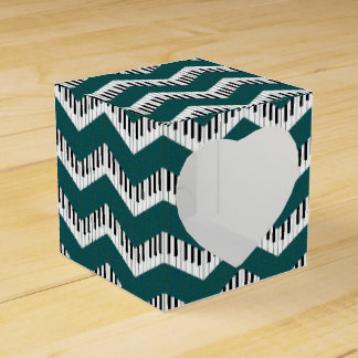 Music Chevron in Cool Teal Favor Box
