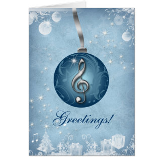 Music Christmas Greeting Card Ice Blue