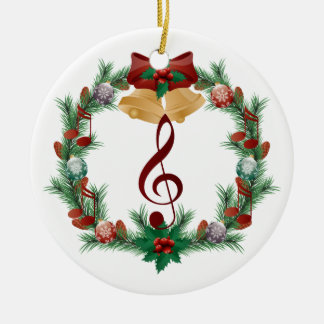 Music Christmas Wreath Treble Clef Ornament Gift