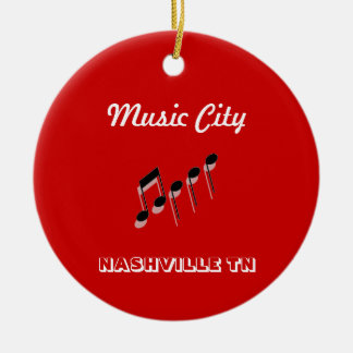 Music City Notes Round Ceramic Ornament
