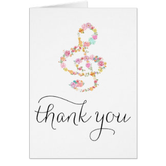 music clef hand lettered thank you card