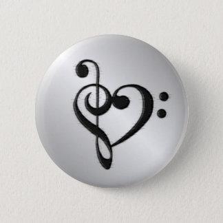 Music Clef Heart 2 Inch Round Button