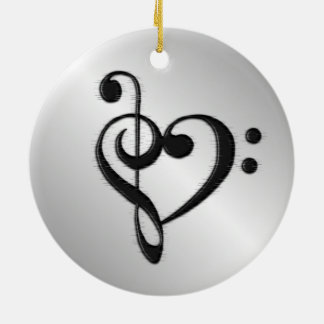 Music Clef Heart Distressed Ceramic Ornament