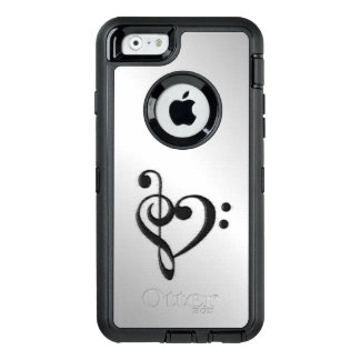 Music Clef Heart Distressed OtterBox Defender iPhone Case