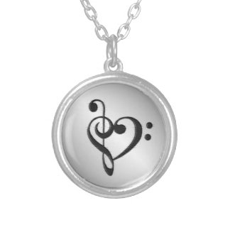 Music Clef Heart Distressed Silver Plated Necklace