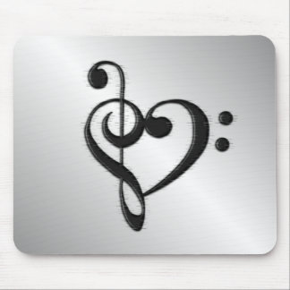 Music Clef Heart Mouse Pad