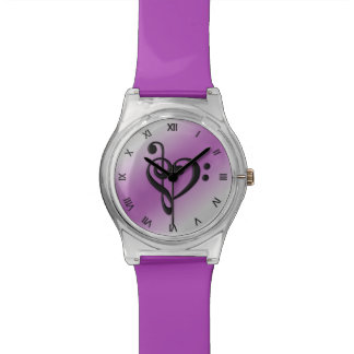 Music Clef Heart Purple Roman Numerals Watch