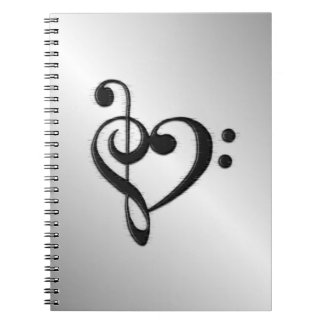 Music Clef Heart Spiral Notebook