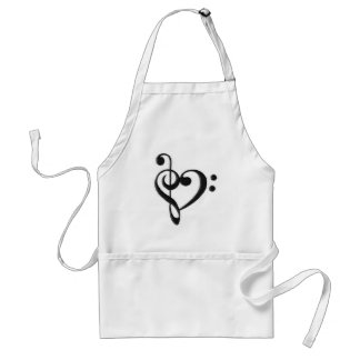 Music Clef Heart Standard Apron
