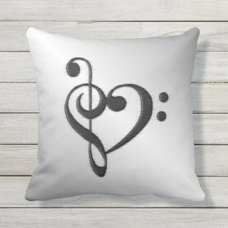 Music Clef Heart Throw Pillow