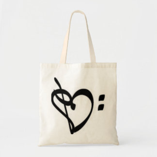 Music Clef Heart Tote