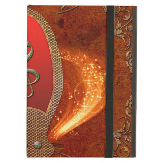 Music, clef made of diamond with floral elements iPad air cover